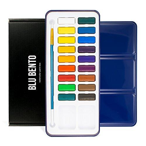 blu-bento-mizu-18-watercolor-paint-box-with-tin-metal-case-brush-mixing-tray-18-paint-cakes-vibrant-