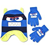 ABG Accessories Big Boys Monster Critter Acrylic Winter Laplander Hat with 3D Puffed Horns and Matching Glove Set., Blue, One Size Fits Most