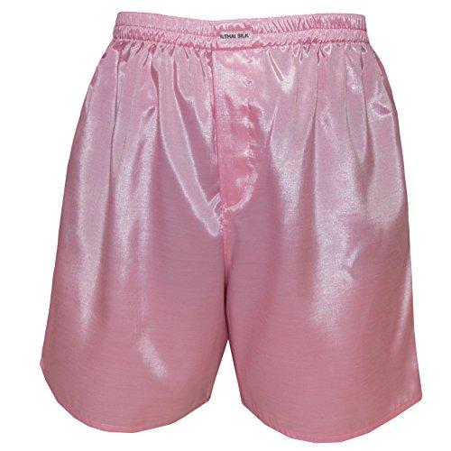 Men's Underwear Sleepwear Thai Silk Boxer Shorts (L, Pink)