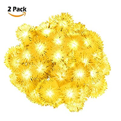 2 Pack Chuzzle Ball Solar String Lights,LOENDE 50 LED 23FT 8 Modes Warm White Waterproof Decorative Dandelion String Lights for Thanksgiving, Party, Outdoor, Indoor, Xmas Tree, Holiday, New Year Decor