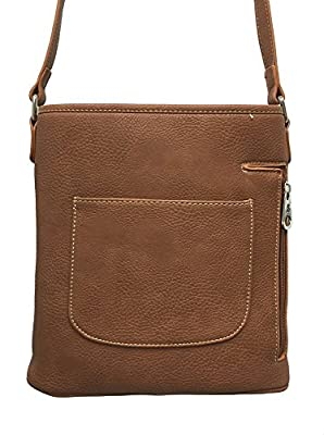 Montana West Concealed Gun Messenger Purse Cross Body Tooled Pocket Concho Brown