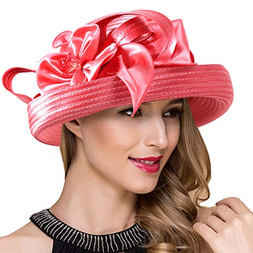 Lady Church Derby Dress Cloche Hat Fascinator Floral Tea Party Wedding Bucket Hat S051 (S710-Watermelon)