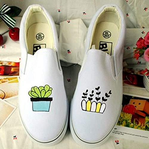 Plataforma Lienzos Mujer Zapatillas A Blancas Transpirable Pintados Ysfu Al Otoño Libre Deporte Zapatos Casuales Mano De Gimnasio Aire d1zSWWRnq0