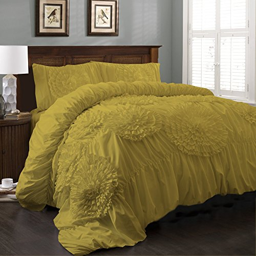 BudgetLinen (1 Flowered Duvet Cover & 2 Pillowcases,Yellow , Queen XL) 100% Egyptian Cotton Luxurious 400 Thread Count (Flowered Comforters)
