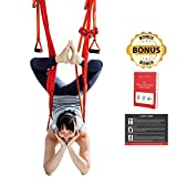 TEC Aerial Yoga Swing - Ultra Strong Trapeze for Inversion Stretches & Exercises; Increases Strength, Flexibility, and Relieves Back Pain; Includes Durable Ropes, Carabiner Clips + Bonus Set Up Guide
