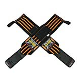 """Deluxe Wrist Wraps 13"""" Long (1 Pair /2 Wraps) for WEIGHT LIFTING TRAINING WRIST SUPPORT COTTON WRAPS GYM BANDAGE STRAPS Orange Premium Quality ✔ PRO Rubber Puller ✔ & Industrial Strength Velcro 1 Year Warranty! really the best wraps"""