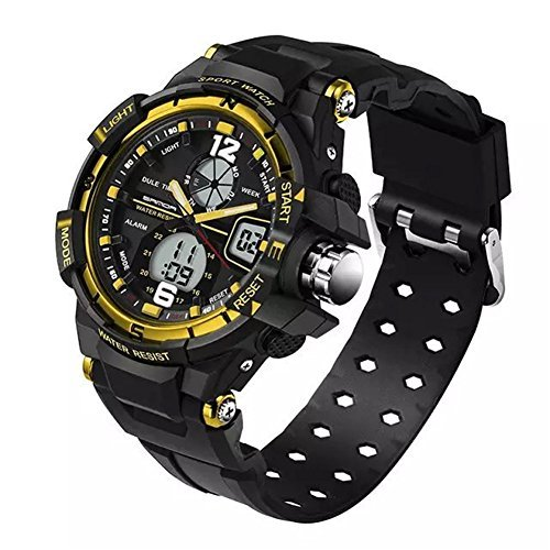 5ATM Junior's Sports Dual Time Waterproof Watches For Christmas Gift and New Year Ages 9-20 by GXFCO