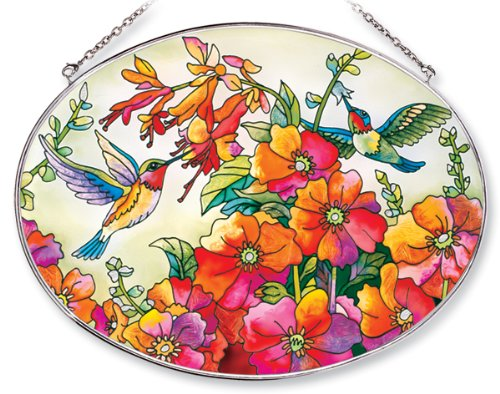 Amia Oval Suncatcher with Hummingbird Design, Hand Painted Glass, 6-1/2-Inch by 9-Inch