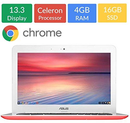 Newest ASUS 13.3-inch Chromebook HD Backlit (1366x768) Display, Intel Celeron N3060 1.6GHz, 4GB DD3L RAM, 16GB eMMc Hard Drive, Intel HD Graphics, Bluetooth, HDMI, Webcam, WIFI, Google Chrome OS ()