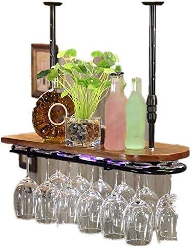 グラスホルダー ホームリビングルームには、逆さまにワイングラスホルダーソリッドウッドバーカウンターワイングラスハンガーゴブレットハンギング 戸棚の下 (Color : Black, Size : 102x28cm)