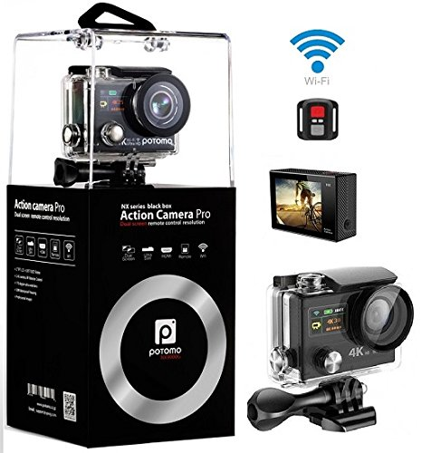 4K Camera,Dual Screen Wifi Sport Camera Ultra HD 4K 25fps Waterproof Action Cam 170°Wide Angle 2.4G Remote Controller With Full Accessories Action Cameras potomo