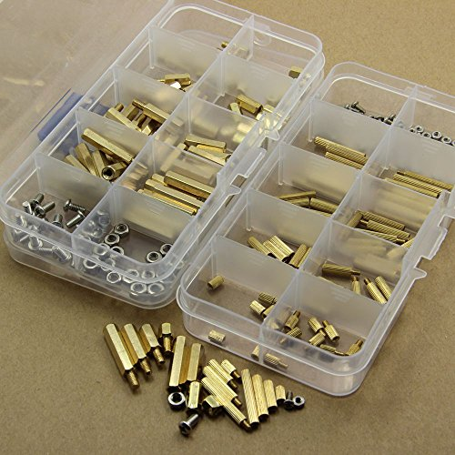 240Pcs M2 M3 Brass Spacer Standoff Screw Nut Assortment - Sampler Hearts Happy
