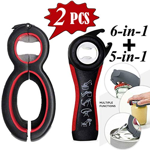 Bottle Opener, 5-in-1 and 6-in-1 Multi Kitchen Tools Set, Can, Soda, and Jar Openers, Twist Off Lid - Lid Seal Remover Lid Twist Off for Children, Elderly and Rheumatoid Arthritis ()