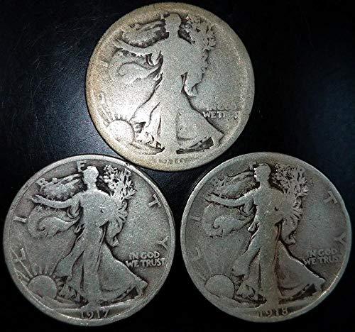 1916 No Mintmark Walking Liberty Great War Time Walkers;Set of three 1916, 17, and 18 Half Dollar G-VG
