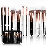 Professional Makeup Brushes Set (10-Piece Kit) Face, Eyeshadow, Blending, Contouring, Foundation | Synthetic Bristles | Round, Tapered, Kabuki and Angled