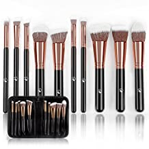 Professional Makeup Brushes Set (10-Piece Kit) Face, Eyeshadow, Blending, Contouring, Foundation | Synthetic Bristles | Round, Tapered, Kabuki and Angled