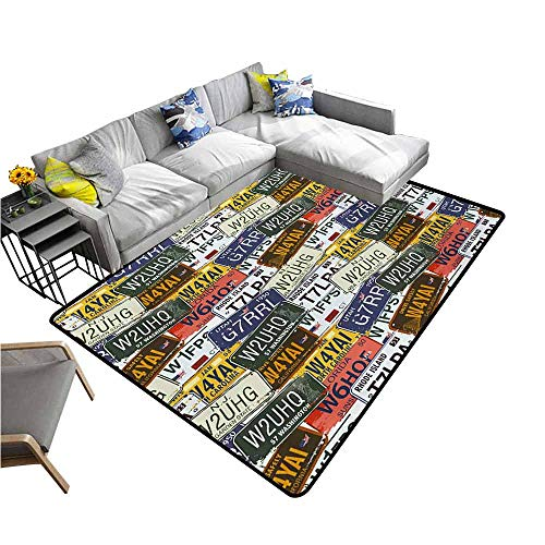 Large Floor Mats for Living Room Colorful USA,Retro American Auto License Plates Utah Washington Rhode Island North Carolina Print,Multicolor 64