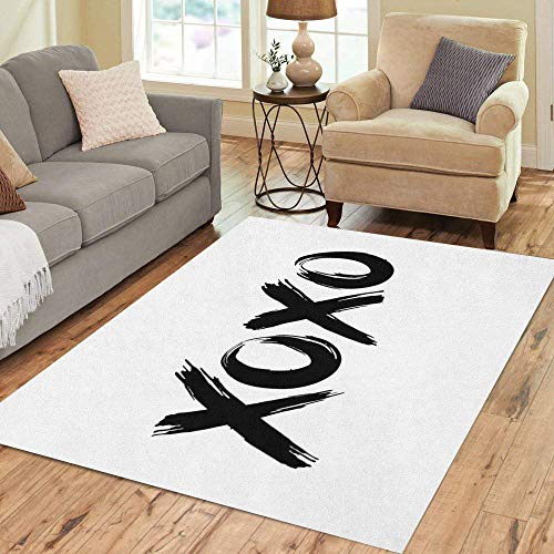 (Pinbeam Area Rug Phrase XOXO Hugs and Kisses Black Brush Lettering Home Decor Floor Rug 5' x 7' Carpet)