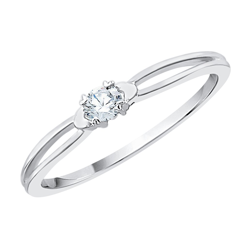 Diamond Promise Ring in Sterling Silver (1/10 cttw) (GH-Color, I2/I3-Clarity) (Size-7)