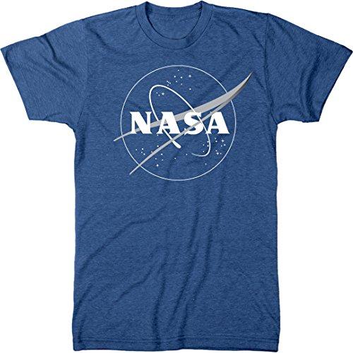 NASA Meatball Logo White Outline Men's Modern Fit Tri-Blend T-Shirt (Vintage Royal, Medium) (Shirts Tee Trunk)