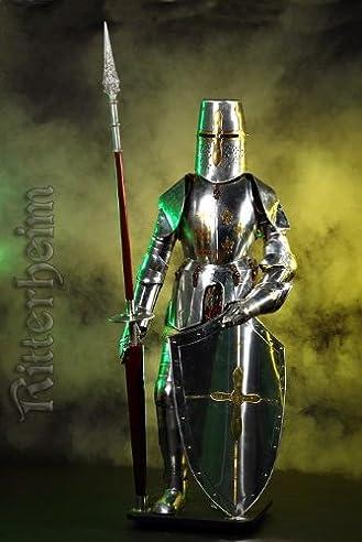 Armure chevalier medievale lance 193cm en argent
