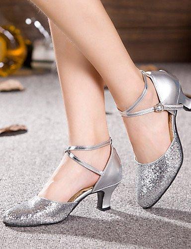 Non personnalisable Latine Silver Cuir Argent ShangYi Verni Chaussures Or Paillette de Gros danse talon q7wUXB