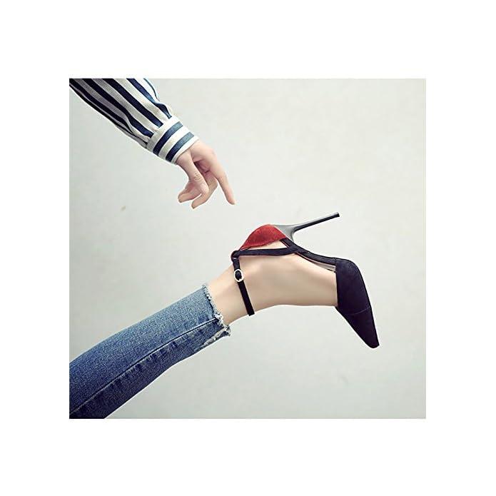 Wenjun Scarpe Col Tacco Alto Con Fibbia A Punta Selvaggia Moda Coreana