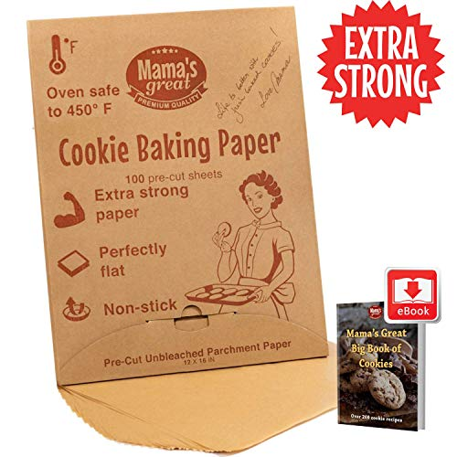 Extra Strong Unbleached Parchment Paper Sheets for Half Sheet Pans 12x16 (100 Pcs). Oven Baking Paper Sheets. Double Side Silicone Coated Precut Parchment Paper for Baking. Great Cookie Sheet Liner.