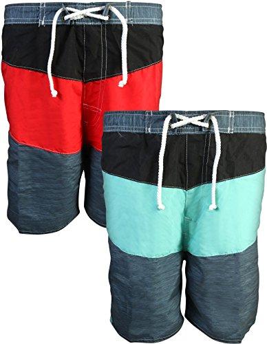 Quad Seven Boys' Swim Trunks, 2-Pack Set (2T, Charcoal-Turquoise/Red-Black)' by Quad Seven