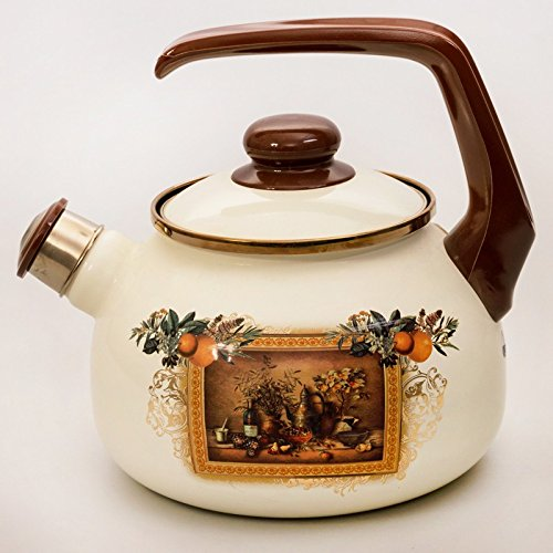 Antique Painting Enamelware Kettle. 2.1-qt. (2.5 L) by Metalac Posuda