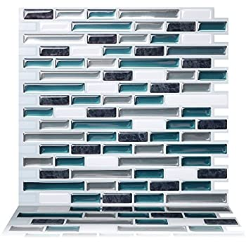 Tic Tac Tiles 5-Sheet Peel and Stick Self Adhesive Removable Stick On Kitchen Backsplash Bathroom 3D Wall Sticker Wallpaper Tiles in Como Mare