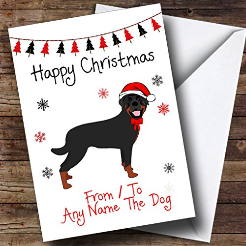 Pet Christmas Cards Personalized - Rottweiler From Or To The Dog Pet Personalized Christmas Holiday Greetings Card