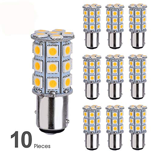Smautop 10Pcs 12V 1157 Led Bulb BAY15D 7528 2057 2357 27SMD 5050 Warm White 3500K Car RV Turn Signal Backup Reverse Parking LED Light Bulbs - 2 Yr Warranty