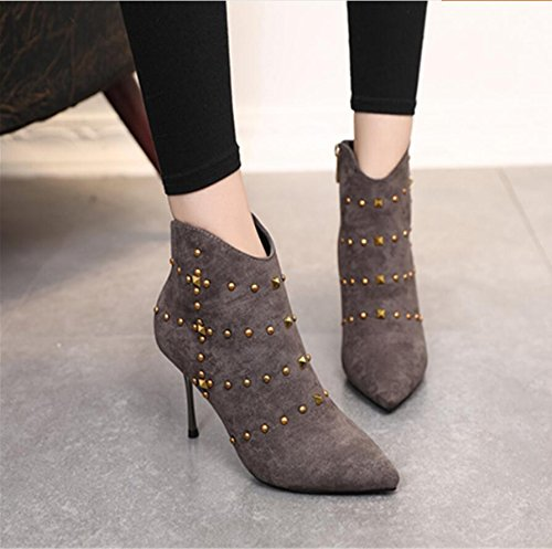 KHSKX-Gray Sexy Rivet Boots Winter New Tip Satin Side Zipper Detail With 9Cm High-Heeled Boots Martin Boots Female 34 XHQsXRaa