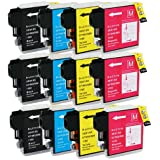 HI-VISION HI-YIELDS Compatible Ink Cartridge Replacement for Brother LC65 ( Black,Cyan,Magenta,Yellow , 12-Pack )