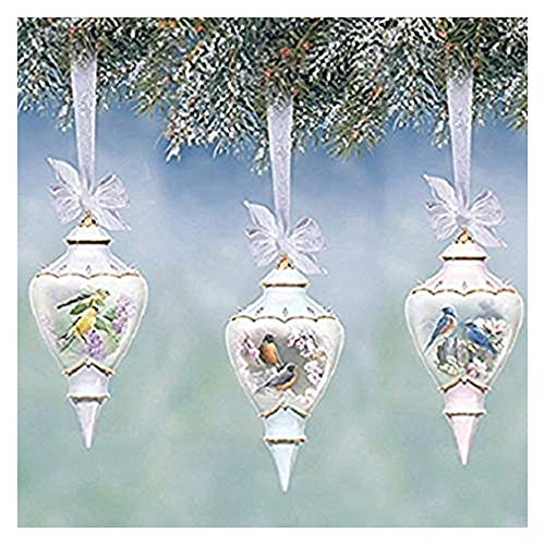 The Bradford Exchange Sweet Songbirds Heirloom Porcelain Songbird Accented Teardrop Ornaments Set of 3 By Susan Bourdet