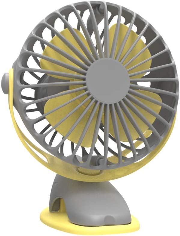 YANGYA Handheld Mini USB Clip-on Fan Desktop Portable Rechargeable Cooling Fan for Home Office Travel Camping-Silver Gray