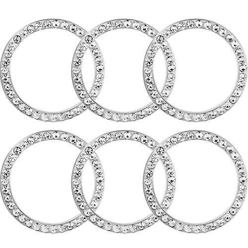 TOODOO 6 Pieces Crystal Rhinestone Car Bling Decorations Ring Emblem Sticker Decor Car Engine Start Stop Accessories for Men and Women (Silver)