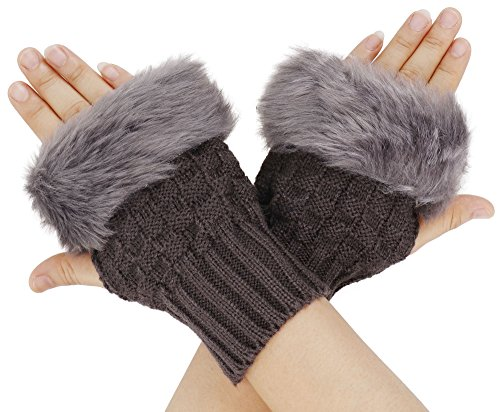 Fur Hand Mitts - Simplicity Ladies Fingerless Faux Fur Gloves Trendy Fashion Winter Accessories