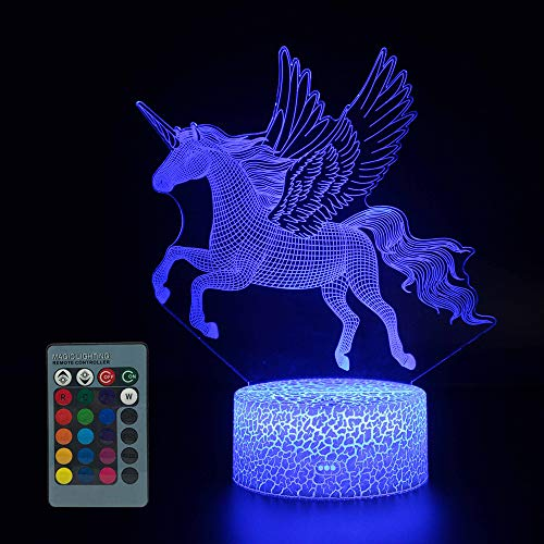 3D Night Light for Kids,16 Color Change Remote Control Timer Kids Night Lights Bedside Lamp, Kids Room Light as a Gift Ideas Boys Girls (Unicorn -