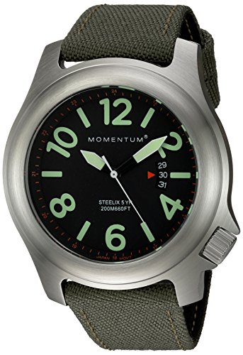 Momentum Men's 'Steelix' Quartz Stainless Steel and Canvas Casual Watch, Color:Green (Model: 1M-SP74B6G)