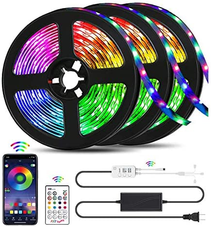 QZYL Led Lights for Bedroom,49.2 Feet Led Strip Lights,Music Sync Color Changing Flexible Rope Lights with Remote App Control Luces Led Strips Lights for Party Home Decoration