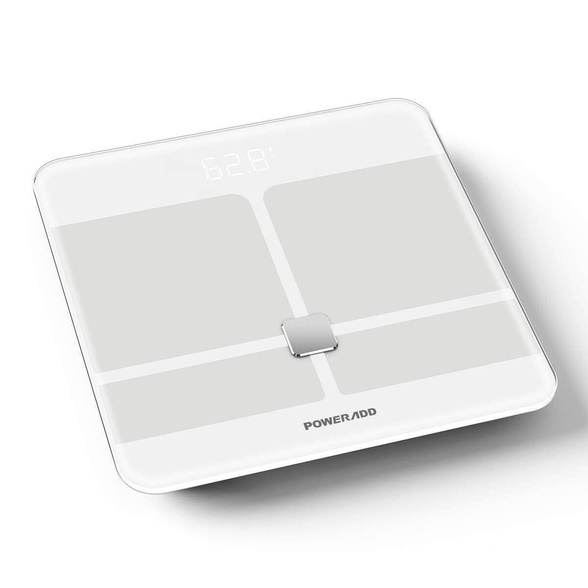 POWERADD Bilancia Pesapersone Digitale con Vetro Temperato e una Capacità 180kg, Bluetooth Bilancia Diagnostica per Grasso Corporeo Misura 8 parametri di corpo,Bianco