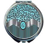 Rikki Knight Letter''G'' Sky Blue Leopard Print Stripes Monogram Design Round Compact Mirror