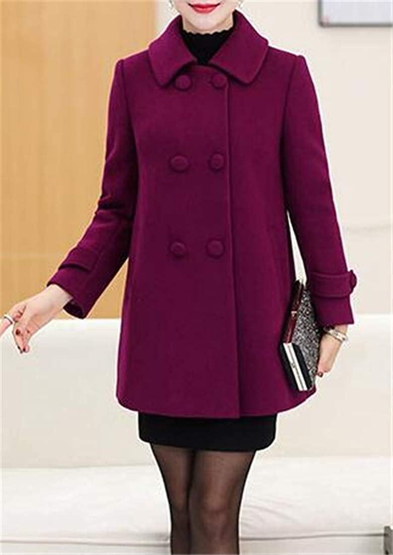 C/&H Womens Warm Solid Overcoat Slim Lapel Double-Breasted Pea Coats