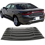 Window Louver Fits 2011-2018 Dodge Charger | Ikon Style Unpainted Black ABS Rear Vent Cover by IKON MOTORSPORTS | 2012 2013 2014 2015 2016 2017