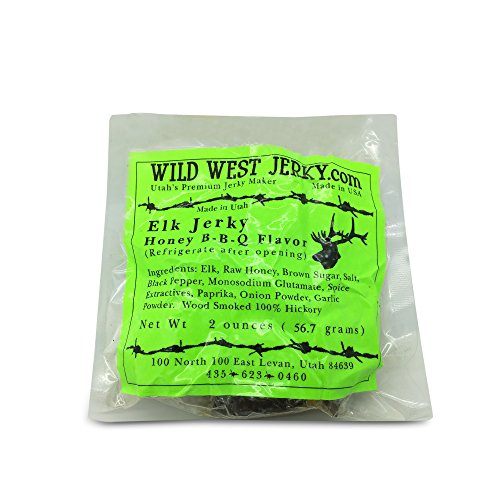 #1 BEST Premium 100% Natural Grass Fed Hand Stripped 2 OZ. Thick Cut Delicious Tasty Bold Flavor Elk Jerky from Utah USA - Wood smoked With Hickory Wood by Wild West Jerky (Honey B-B-Q 1 Pack)