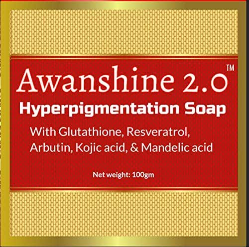 Awanshine Hyperperpigmentation Whitening Soap with Glutathione, alpha arbutin, resveratrol, kojic acid and Mandelic acid for age marks, dark spots, blemish control, wrinkle amelioration