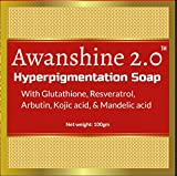 Awanshine Hyperperpigmentation Whitening Soap with Glutathione, alpha arbutin, resveratrol, kojic acid and Mandelic acid for age marks, dark spots, blemish control, wrinkle amelioration
