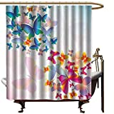 Pink Mossy Oak Shower Curtain Qenuanmpo Waterproof Shower Curtain Butterflies,Colorful Flying Butterflies Fairy Tale Graphic Print Supernatural Home,Pink Blue Orange,3D Effect Bathroom Curtain 54